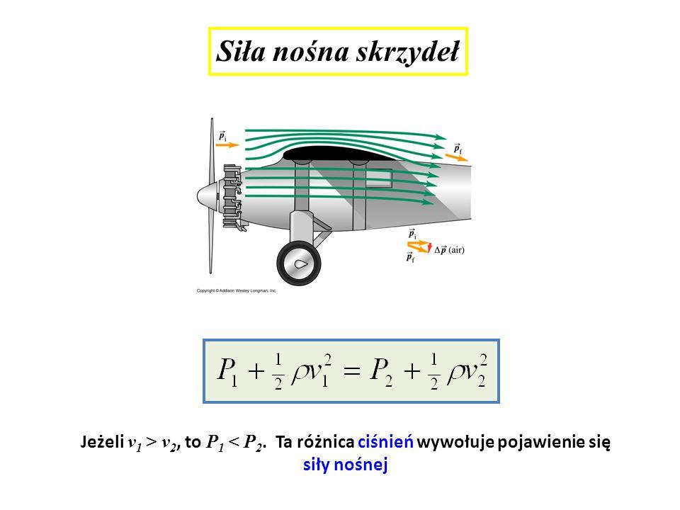 Siła nośna skrzydeł Jeżeli v 1 > v 2, to P 1 < P 2. Ta różnica ciśnień wywołuje pojawienie się siły nośnej