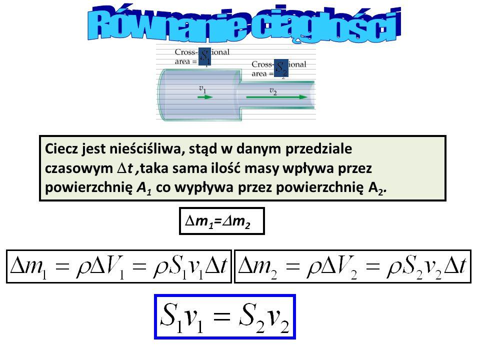 Ciecz jest nieściśliwa, stąd w danym przedziale czasowym t,taka sama ilość masy wpływa przez powierzchnię A 1 co wypływa przez powierzchnię A 2. m 1 =