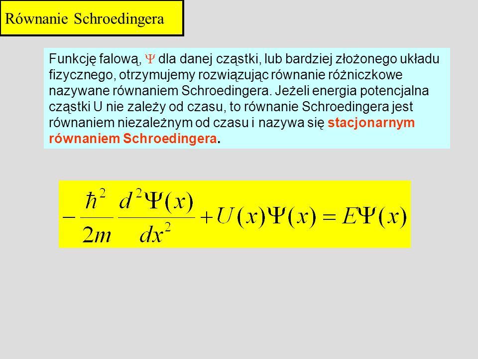 Funkcję falową, dla danej cząstki, lub bardziej złożonego układu fizycznego, otrzymujemy rozwiązując równanie różniczkowe nazywane równaniem Schroedin