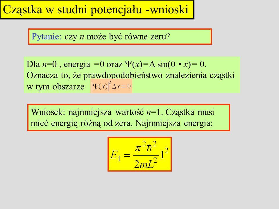 Cząstka w studni potencjału -wnioski Pytanie: czy n może być równe zeru? Dla n=0, energia =0 oraz (x)=A sin(0 x)= 0. Oznacza to, że prawdopodobieństwo