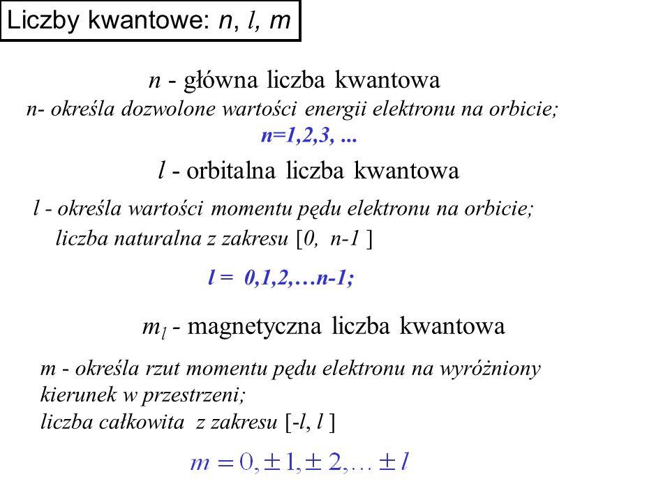 Liczby kwantowe: n, l, m l - określa wartości momentu pędu elektronu na orbicie; liczba naturalna z zakresu [0, n-1 ] l - orbitalna liczba kwantowa l