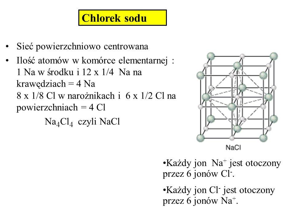 Chlorek sodu Sieć powierzchniowo centrowana Ilość atomów w komórce elementarnej : 1 Na w środku i 12 x 1/4 Na na krawędziach = 4 Na 8 x 1/8 Cl w naroż