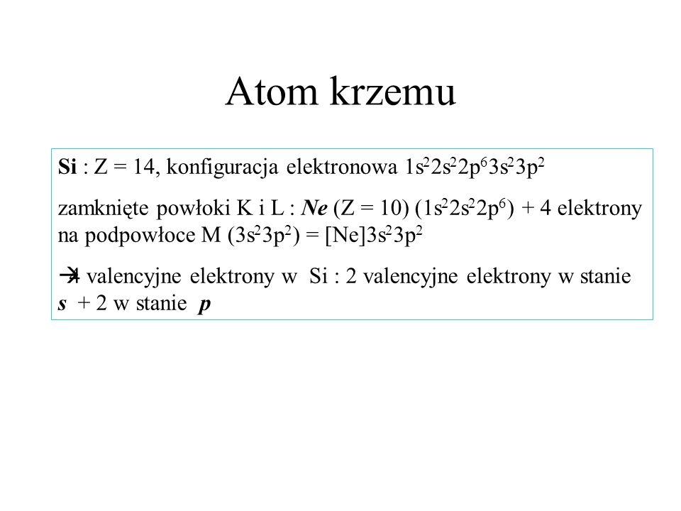 Atom krzemu Si : Z = 14, konfiguracja elektronowa 1s 2 2s 2 2p 6 3s 2 3p 2 zamknięte powłoki K i L : Ne (Z = 10) (1s 2 2s 2 2p 6 ) + 4 elektrony na po