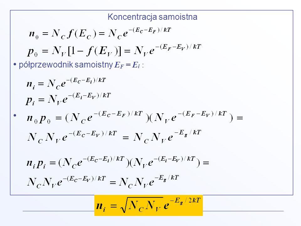 Koncentracja samoistna półprzewodnik samoistny E F = E i :