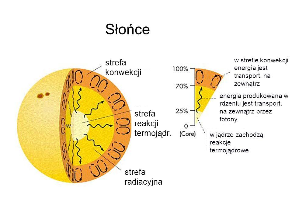 strefa konwekcji strefa reakcji termojądr. strefa radiacyjna w strefie konwekcji energia jest transport. na zewnątrz energia produkowana w rdzeniu jes