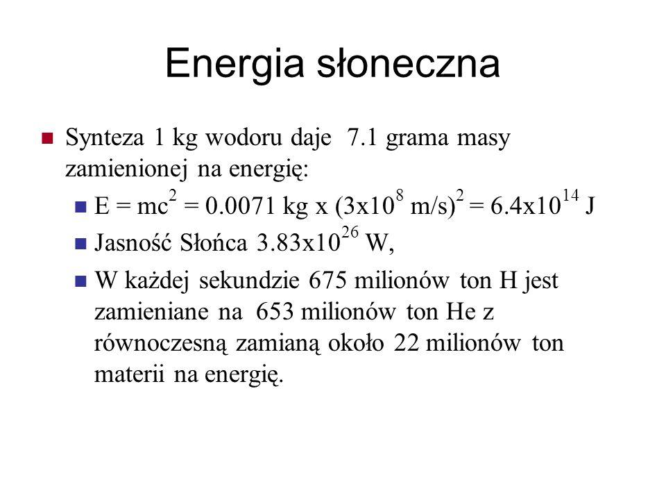 Energia słoneczna Synteza 1 kg wodoru daje 7.1 grama masy zamienionej na energię: E = mc 2 = 0.0071 kg x (3x10 8 m/s) 2 = 6.4x10 14 J Jasność Słońca 3