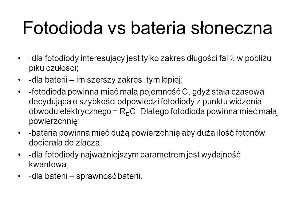 Fotodioda vs bateria słoneczna -dla fotodiody interesujący jest tylko zakres długości fal w pobliżu piku czułości; -dla baterii – im szerszy zakres ty