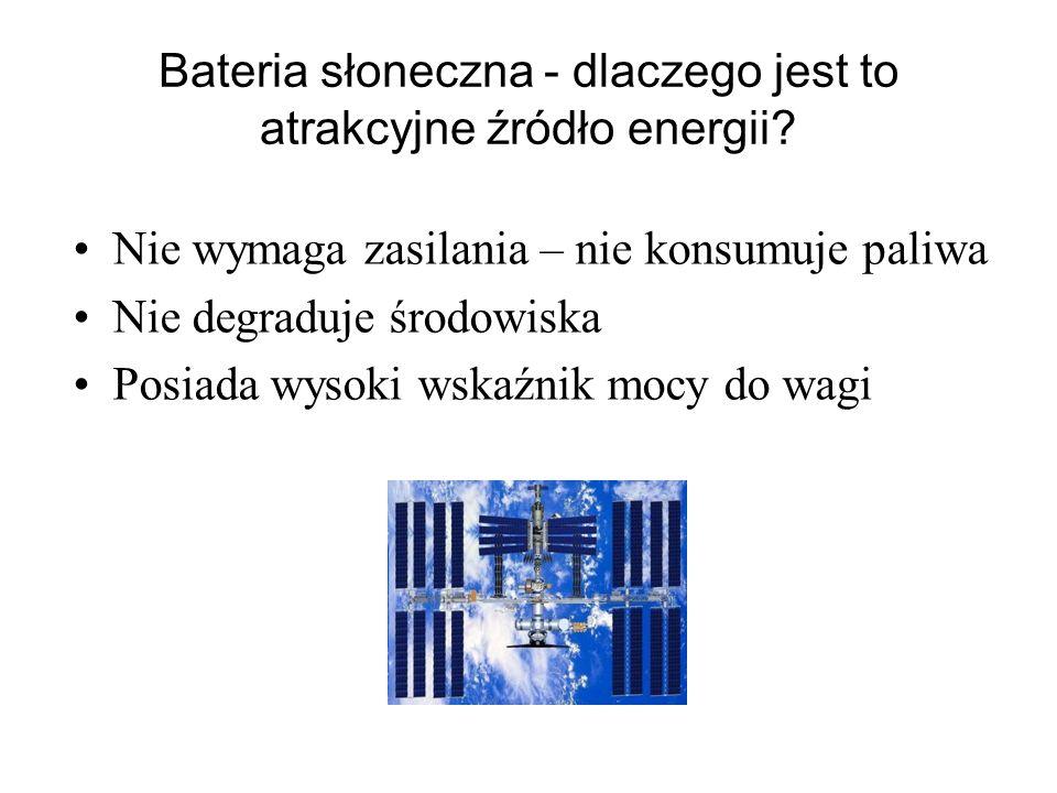 Bateria słoneczna - dlaczego jest to atrakcyjne źródło energii? Nie wymaga zasilania – nie konsumuje paliwa Nie degraduje środowiska Posiada wysoki ws