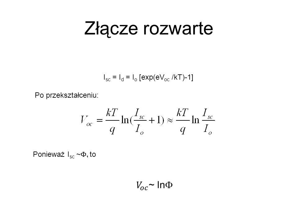 Złącze rozwarte I sc = I d = I o [exp(eV oc /kT)-1] Po przekształceniu: Ponieważ I sc to
