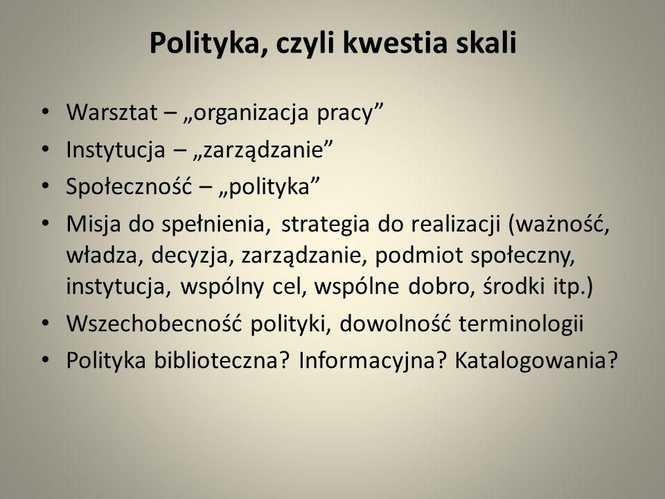 Polityka, czyli kwestia skali Warsztat – organizacja pracy Instytucja – zarządzanie Społeczność – polityka Misja do spełnienia, strategia do realizacji (ważność, władza, decyzja, zarządzanie, podmiot społeczny, instytucja, wspólny cel, wspólne dobro, środki itp.) Wszechobecność polityki, dowolność terminologii Polityka biblioteczna.