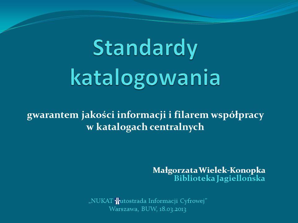 NUKAT – Autostrada Informacji Cyfrowej Warszawa, BUW, 18.03.2013 literówka w pierwszych słowach tytułu zupełnie uniemożliwi wyszukanie publikacji w indeksie tytułowym, a także przez słowa kluczowe jeśli zabraknie w opisie bibliograficznym wariantu tytułu przy odmiennym tytule okładkowym - użytkownik może uznać, że nie ma w bibliotece interesującej go publikacji niejednolite, niezgodne z przepisami postępowanie w przypadku wspólnych katalogów komputerowych wielu instytutów czy filii bibliotek zawierających informacje o egzemplarzach zlokalizowanych w różnych miejscach powoduje chaos i szum informacyjny