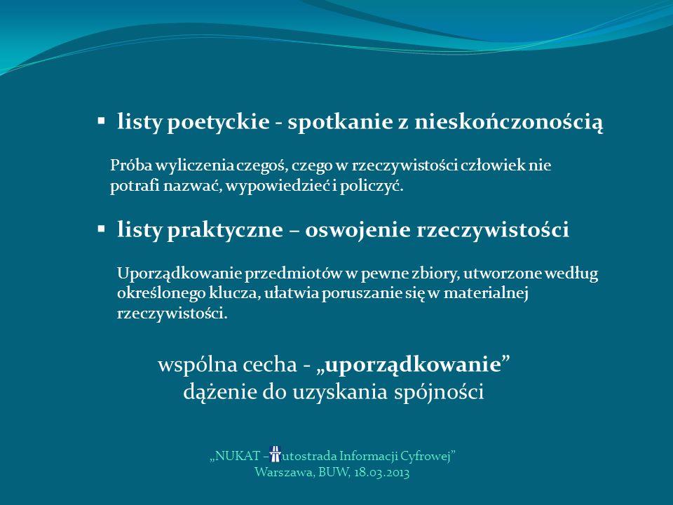 NUKAT – Autostrada Informacji Cyfrowej Warszawa, BUW, 18.03.2013 Rola standardów w integracji katalogów bibliotecznych automatyczne scalanie baz zawsze wiąże się z pewnym ryzykiem utraty części danych i z dużym nakładem pracy wzbogacenie centralnej informacji o zasobach polskich bibliotek jest nie do przecenienia duży poziom spójności metadanych umożliwia przeprowadzenie scalania baz jest gwarancją powodzenia projektu