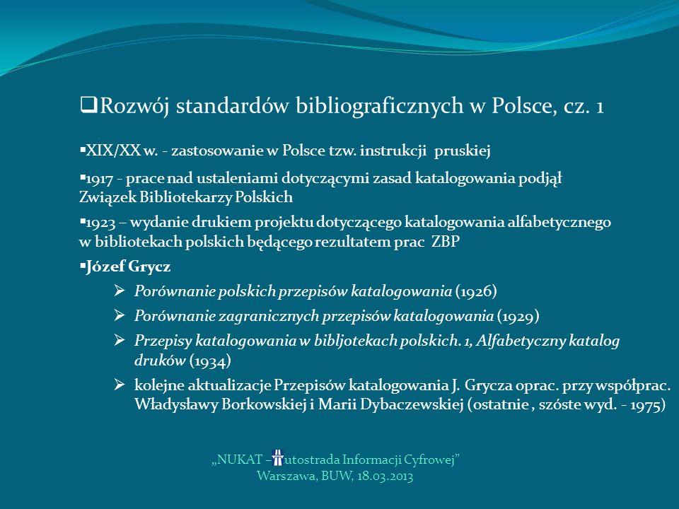 NUKAT – Autostrada Informacji Cyfrowej Warszawa, BUW, 18.03.2013 Rozwój standardów bibliograficznych na świecie, cz.