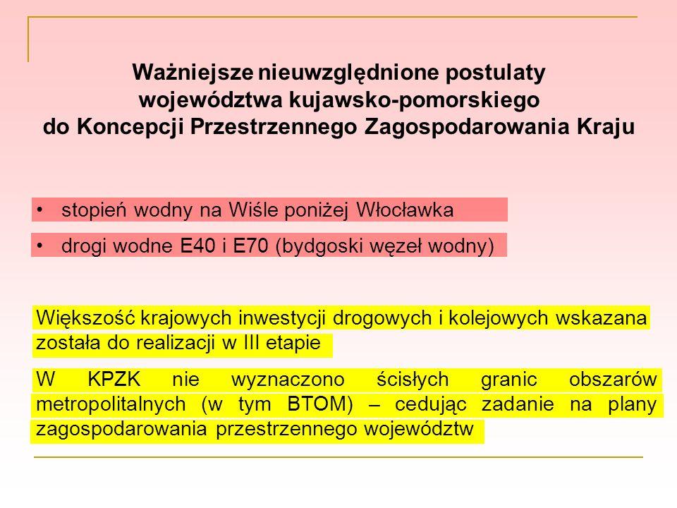 Ważniejsze nieuwzględnione postulaty województwa kujawsko-pomorskiego do Koncepcji Przestrzennego Zagospodarowania Kraju stopień wodny na Wiśle poniże