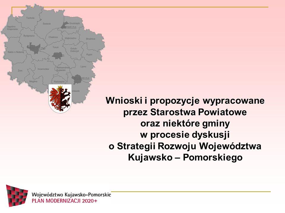 Wnioski i propozycje wypracowane przez Starostwa Powiatowe oraz niektóre gminy w procesie dyskusji o Strategii Rozwoju Województwa Kujawsko – Pomorski