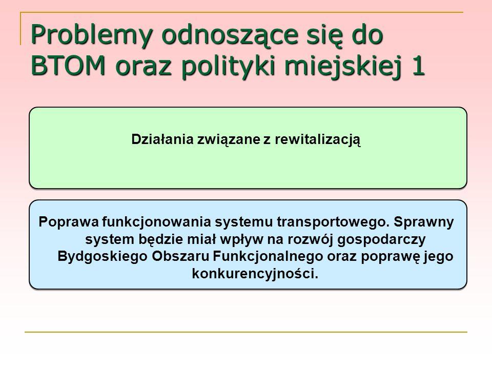 Problemy odnoszące się do BTOM oraz polityki miejskiej 1 Działania związane z rewitalizacją Poprawa funkcjonowania systemu transportowego. Sprawny sys