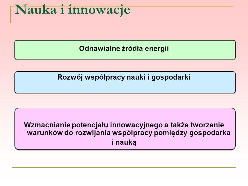 Nauka i innowacje Odnawialne źródła energii Rozwój współpracy nauki i gospodarki Wzmacnianie potencjału innowacyjnego a także tworzenie warunków do ro