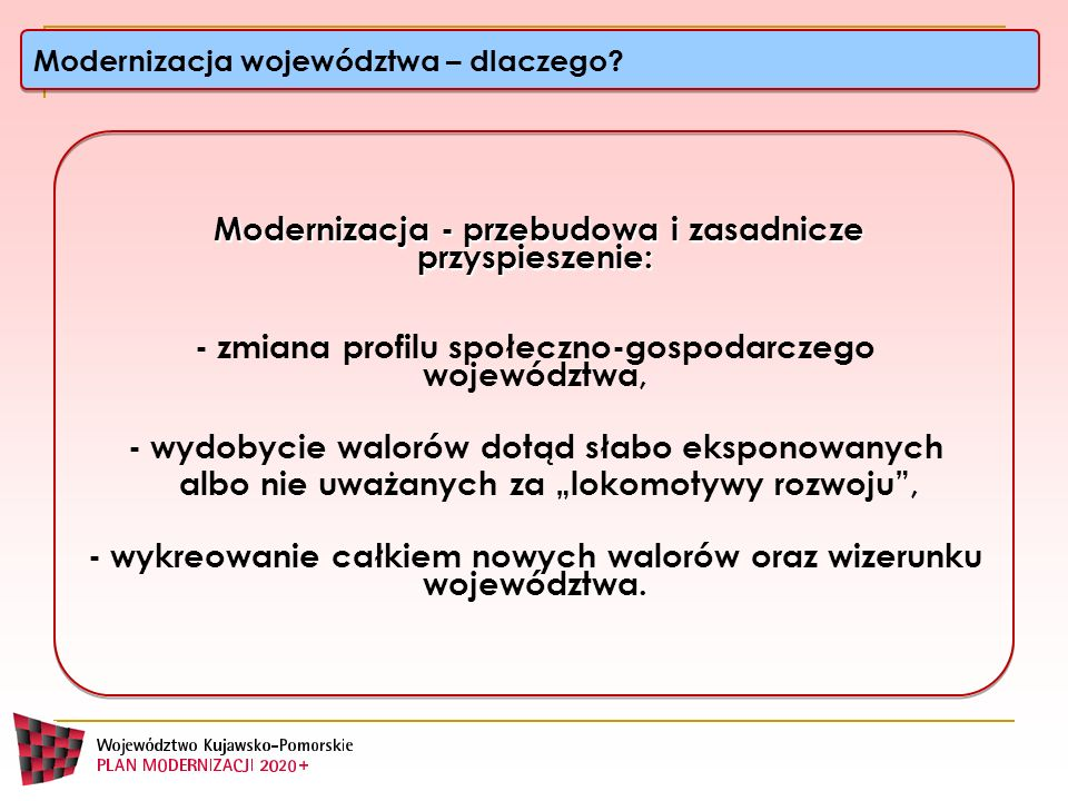 Ważniejsze nieuwzględnione postulaty województwa kujawsko-pomorskiego do Koncepcji Przestrzennego Zagospodarowania Kraju stopień wodny na Wiśle poniżej Włocławka drogi wodne E40 i E70 (bydgoski węzeł wodny) Większość krajowych inwestycji drogowych i kolejowych wskazana została do realizacji w III etapie W KPZK nie wyznaczono ścisłych granic obszarów metropolitalnych (w tym BTOM) – cedując zadanie na plany zagospodarowania przestrzennego województw