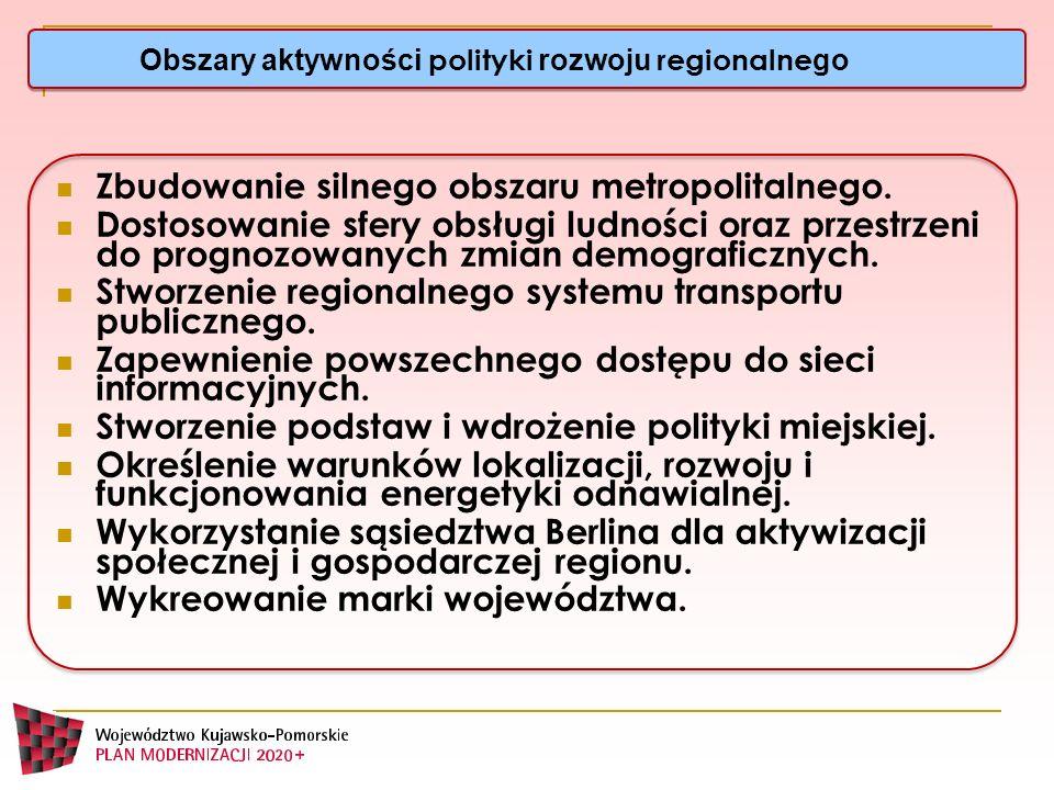 Obszary aktywności polityki rozwoju regionalne go Zbudowanie silnego obszaru metropolitalnego. Dostosowanie sfery obsługi ludności oraz przestrzeni do