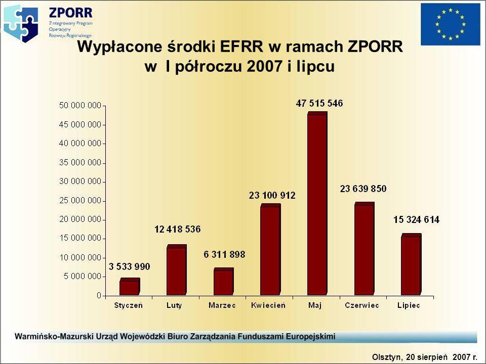 Wypłacone środki EFRR w ramach ZPORR w I półroczu 2007 i lipcu Olsztyn, 20 sierpień 2007 r.
