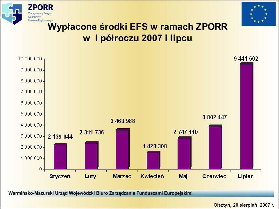 Wypłacone środki EFS w ramach ZPORR w I półroczu 2007 i lipcu Olsztyn, 20 sierpień 2007 r.