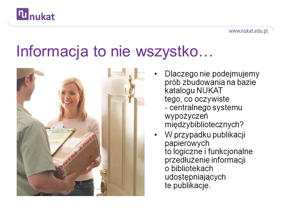 Omfalos czy węzeł w sieci… Użytkownicy informacji chętniej korzystają z narzędzi i źródeł kompleksowych, a nie wybiórczych NUKAT nie zapewnia informacji na poziomie wydawnictw niesamoistnych (artykułów, rozdziałów w pracach zbiorowych) ani - w dużej mierze - informacji o zbiorach bibliotecznych dostępnych online.