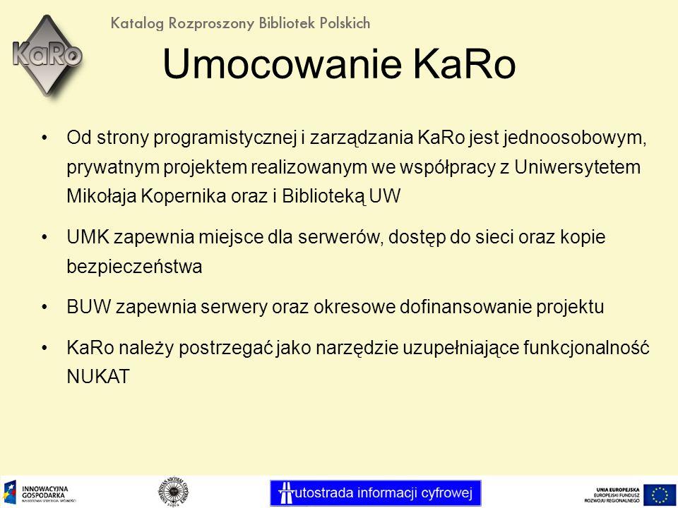 Umocowanie KaRo Od strony programistycznej i zarządzania KaRo jest jednoosobowym, prywatnym projektem realizowanym we współpracy z Uniwersytetem Mikołaja Kopernika oraz i Biblioteką UW UMK zapewnia miejsce dla serwerów, dostęp do sieci oraz kopie bezpieczeństwa BUW zapewnia serwery oraz okresowe dofinansowanie projektu KaRo należy postrzegać jako narzędzie uzupełniające funkcjonalność NUKAT