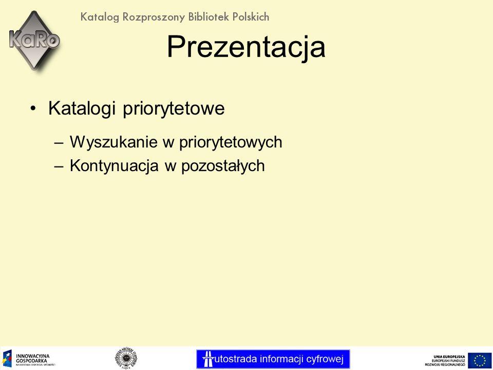 Prezentacja Katalogi priorytetowe –Wyszukanie w priorytetowych –Kontynuacja w pozostałych