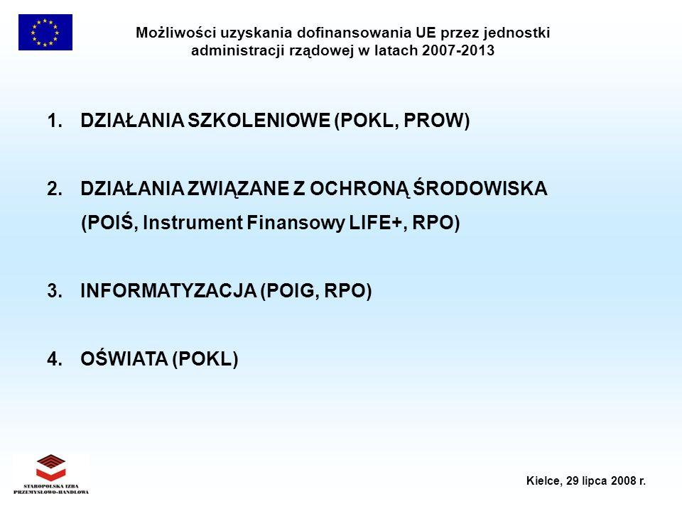 Możliwości uzyskania dofinansowania UE przez jednostki administracji rządowej w latach 2007-2013 Kielce, 29 lipca 2008 r. 1. DZIAŁANIA SZKOLENIOWE (PO