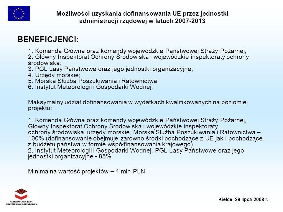 Możliwości uzyskania dofinansowania UE przez jednostki administracji rządowej w latach 2007-2013 Kielce, 29 lipca 2008 r. BENEFICJENCI: 1. Komenda Głó