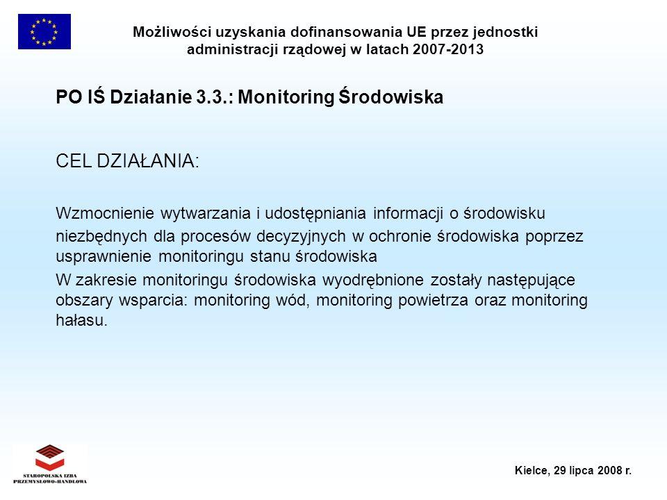 Możliwości uzyskania dofinansowania UE przez jednostki administracji rządowej w latach 2007-2013 Kielce, 29 lipca 2008 r. PO IŚ Działanie 3.3.: Monito