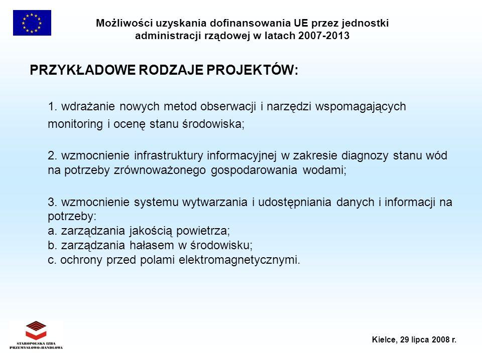 Możliwości uzyskania dofinansowania UE przez jednostki administracji rządowej w latach 2007-2013 Kielce, 29 lipca 2008 r. PRZYKŁADOWE RODZAJE PROJEKTÓ
