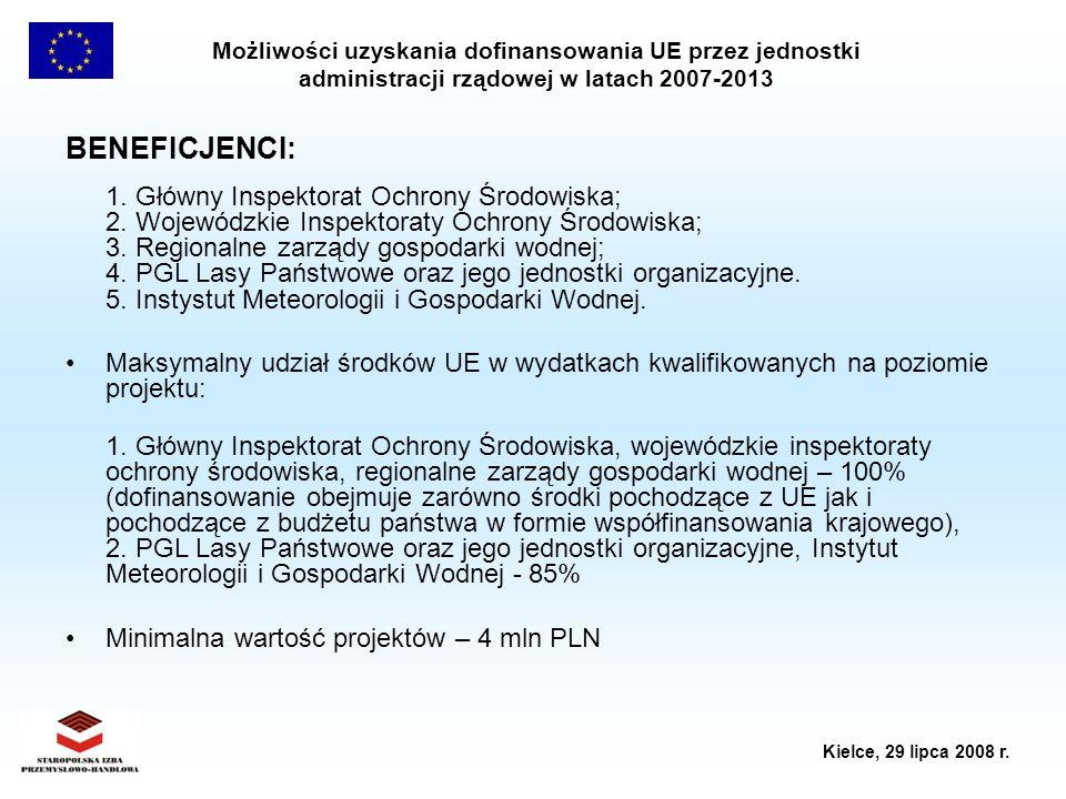 Możliwości uzyskania dofinansowania UE przez jednostki administracji rządowej w latach 2007-2013 Kielce, 29 lipca 2008 r. BENEFICJENCI: 1. Główny Insp