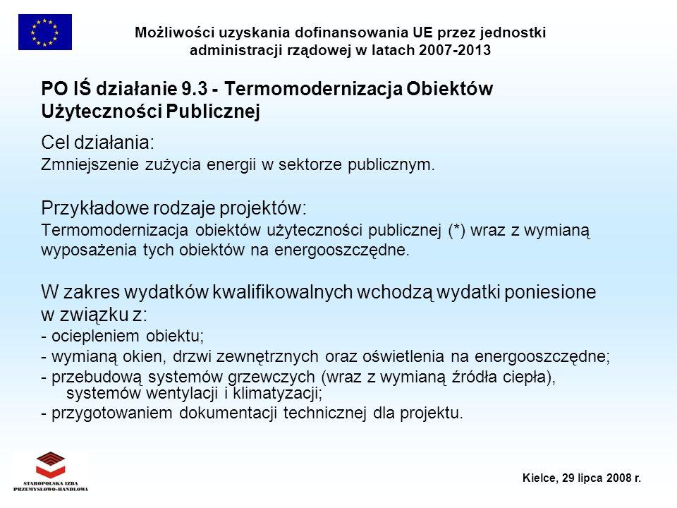 Możliwości uzyskania dofinansowania UE przez jednostki administracji rządowej w latach 2007-2013 Kielce, 29 lipca 2008 r. PO IŚ działanie 9.3 - Termom