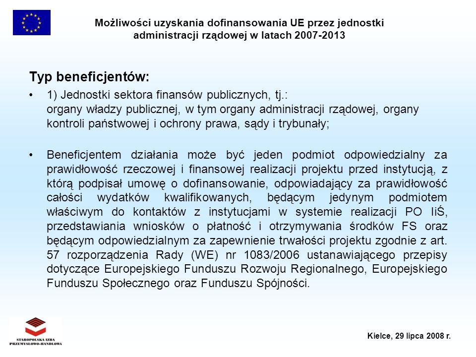 Możliwości uzyskania dofinansowania UE przez jednostki administracji rządowej w latach 2007-2013 Kielce, 29 lipca 2008 r. Typ beneficjentów: 1) Jednos