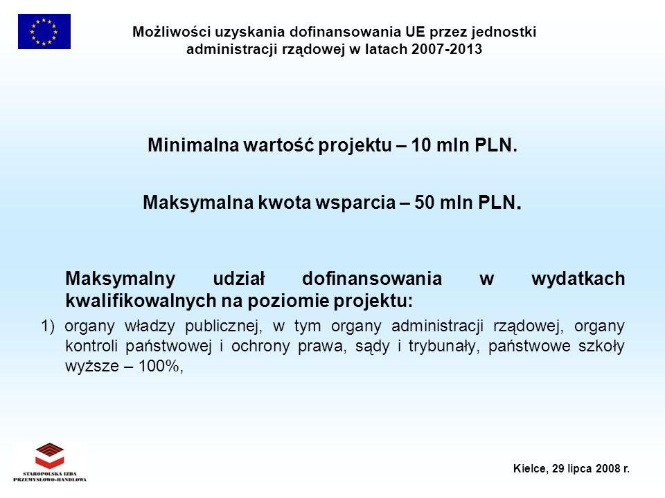Możliwości uzyskania dofinansowania UE przez jednostki administracji rządowej w latach 2007-2013 Kielce, 29 lipca 2008 r. Minimalna wartość projektu –