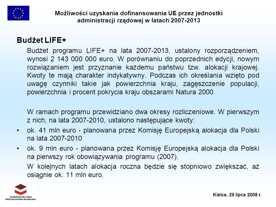 Możliwości uzyskania dofinansowania UE przez jednostki administracji rządowej w latach 2007-2013 Kielce, 29 lipca 2008 r. Budżet LIFE+ Budżet programu