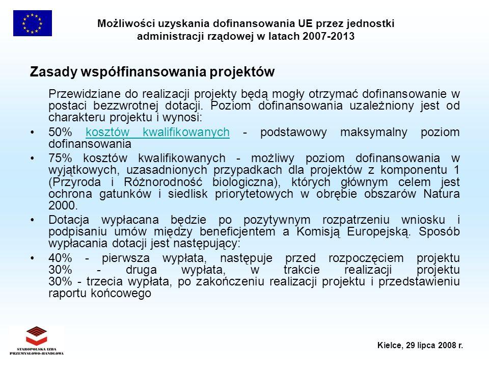 Możliwości uzyskania dofinansowania UE przez jednostki administracji rządowej w latach 2007-2013 Kielce, 29 lipca 2008 r. Zasady współfinansowania pro