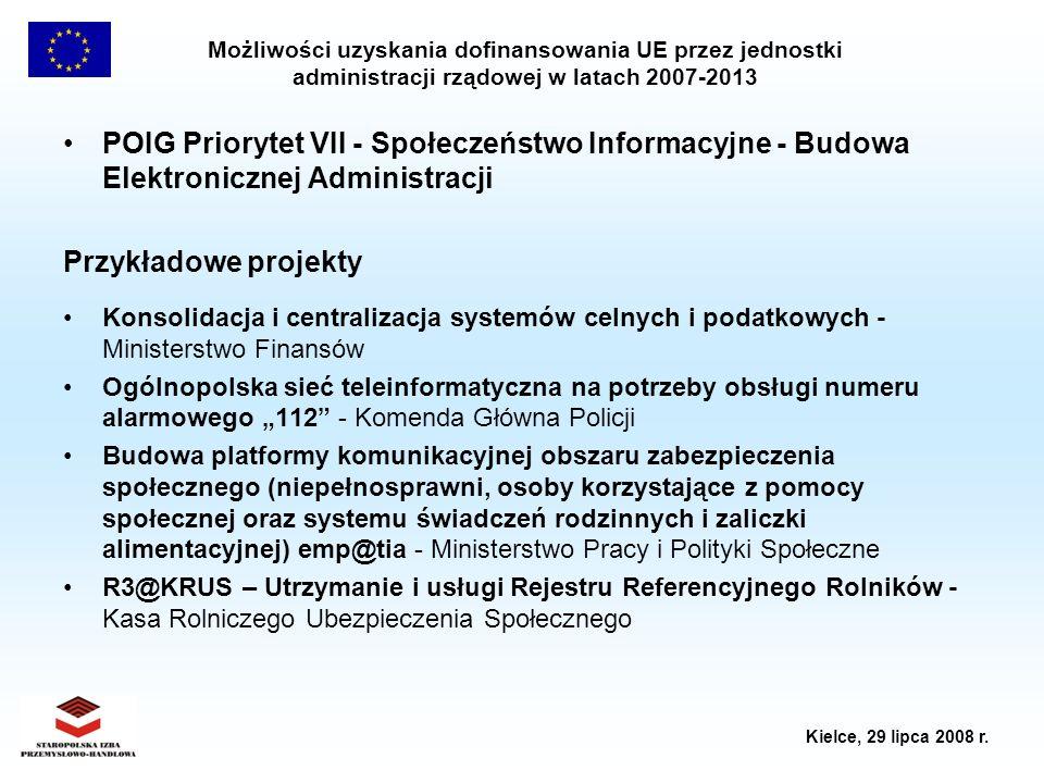 Możliwości uzyskania dofinansowania UE przez jednostki administracji rządowej w latach 2007-2013 Kielce, 29 lipca 2008 r. POIG Priorytet VII - Społecz