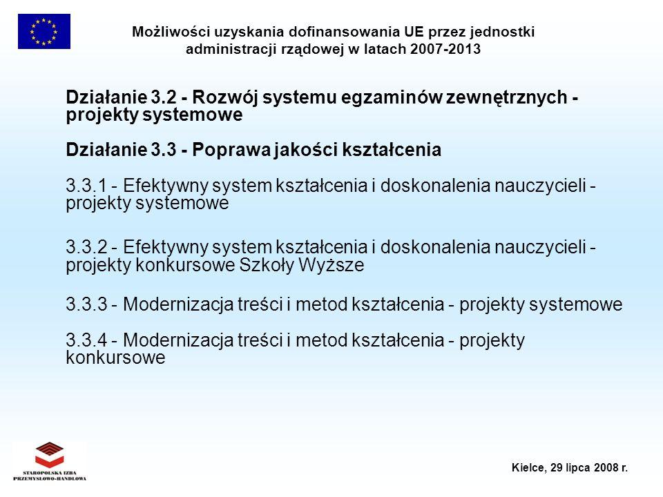 Możliwości uzyskania dofinansowania UE przez jednostki administracji rządowej w latach 2007-2013 Kielce, 29 lipca 2008 r. Działanie 3.2 - Rozwój syste