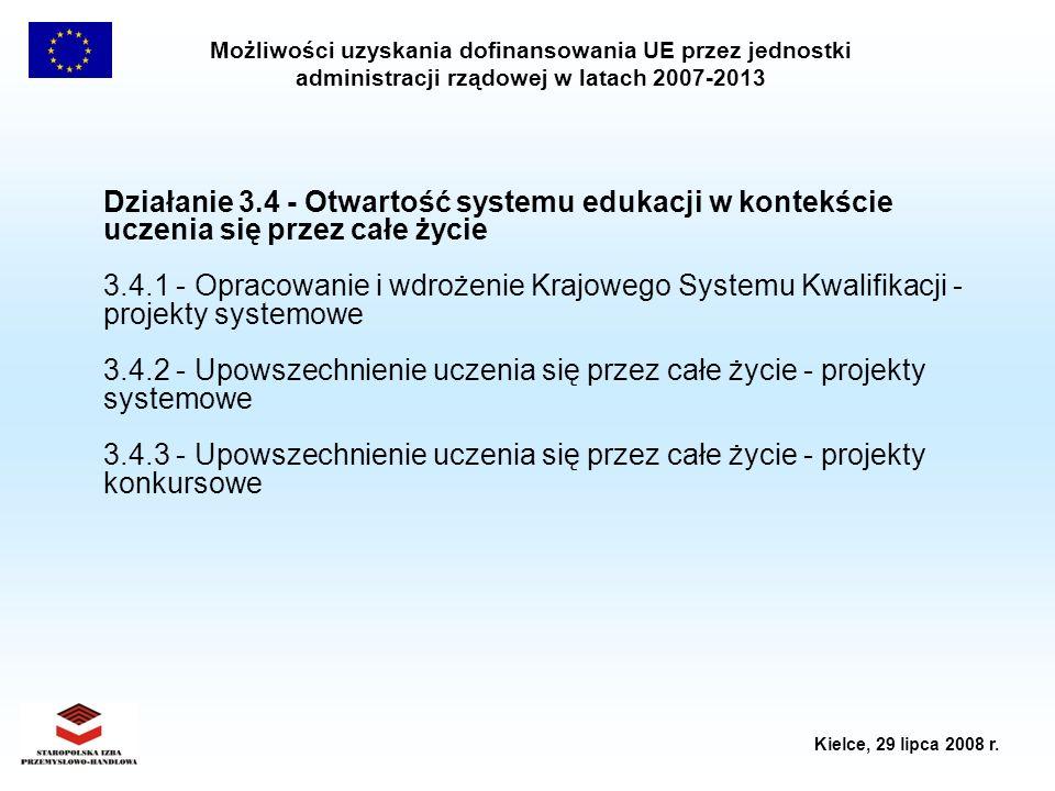 Możliwości uzyskania dofinansowania UE przez jednostki administracji rządowej w latach 2007-2013 Kielce, 29 lipca 2008 r. Działanie 3.4 - Otwartość sy