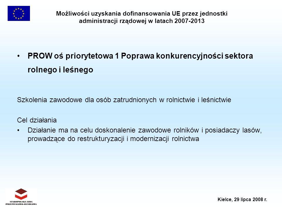 Możliwości uzyskania dofinansowania UE przez jednostki administracji rządowej w latach 2007-2013 Kielce, 29 lipca 2008 r. PROW oś priorytetowa 1 Popra