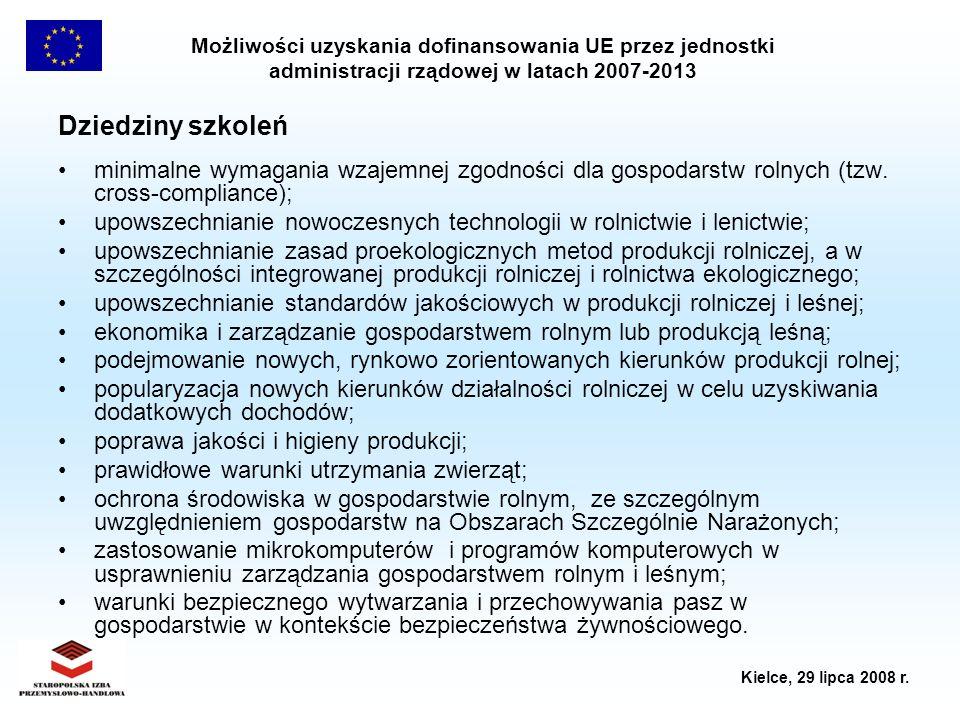 Możliwości uzyskania dofinansowania UE przez jednostki administracji rządowej w latach 2007-2013 Kielce, 29 lipca 2008 r. Dziedziny szkoleń minimalne