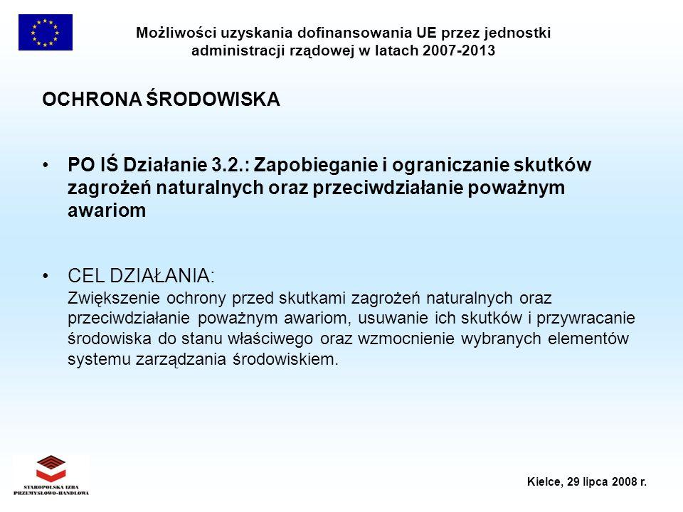 Możliwości uzyskania dofinansowania UE przez jednostki administracji rządowej w latach 2007-2013 Kielce, 29 lipca 2008 r. OCHRONA ŚRODOWISKA PO IŚ Dzi