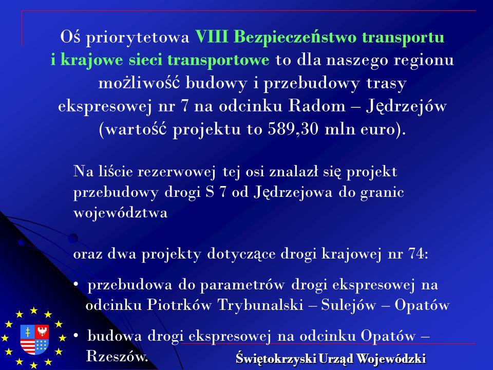 O ś priorytetowa VIII Bezpiecze ń stwo transportu i krajowe sieci transportowe to dla naszego regionu mo ż liwo ść budowy i przebudowy trasy ekspresowej nr 7 na odcinku Radom – J ę drzejów (warto ść projektu to 589,30 mln euro).