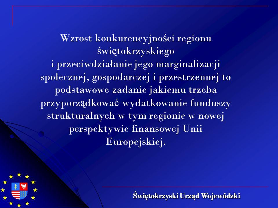 Wzrost konkurencyjno ś ci regionu ś wi ę tokrzyskiego i przeciwdziałanie jego marginalizacji społecznej, gospodarczej i przestrzennej to podstawowe zadanie jakiemu trzeba przyporz ą dkowa ć wydatkowanie funduszy strukturalnych w tym regionie w nowej perspektywie finansowej Unii Europejskiej.