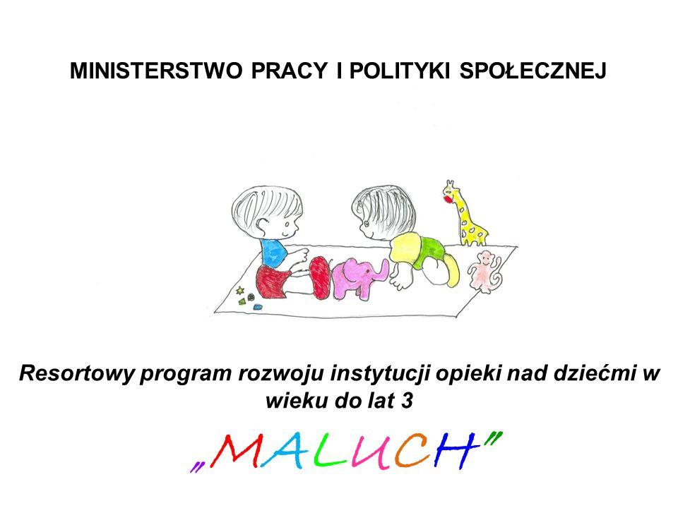 MINISTERSTWO PRACY I POLITYKI SPOŁECZNEJ Resortowy program rozwoju instytucji opieki nad dziećmi w wieku do lat 3 MALUCH