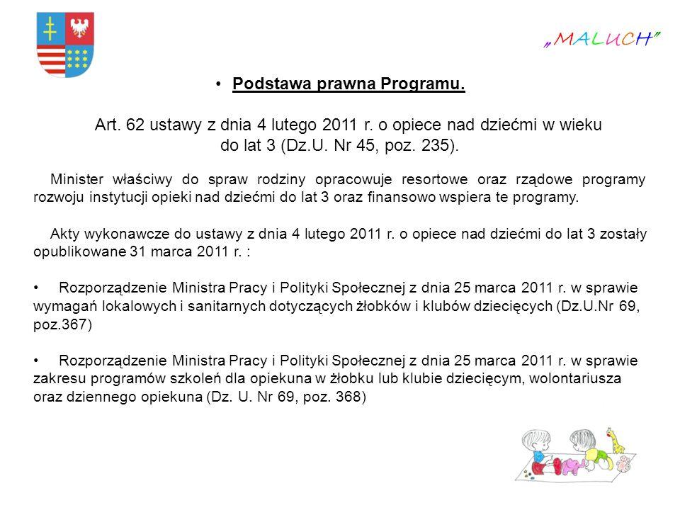 Podstawa prawna Programu. Art. 62 ustawy z dnia 4 lutego 2011 r. o opiece nad dziećmi w wieku do lat 3 (Dz.U. Nr 45, poz. 235). Minister właściwy do s