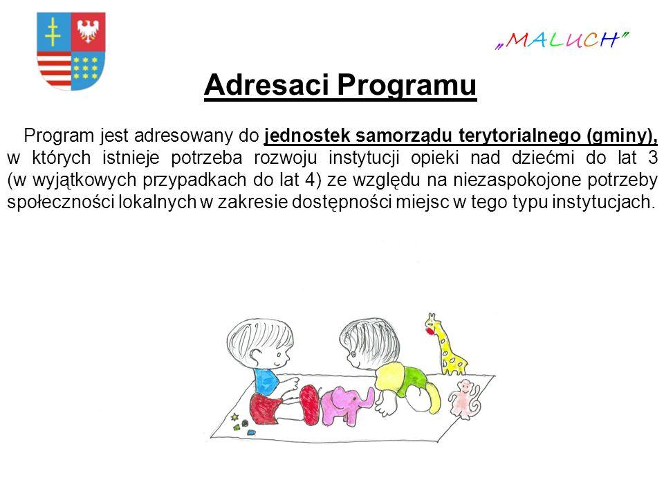 Adresaci Programu Program jest adresowany do jednostek samorządu terytorialnego (gminy), w których istnieje potrzeba rozwoju instytucji opieki nad dzi