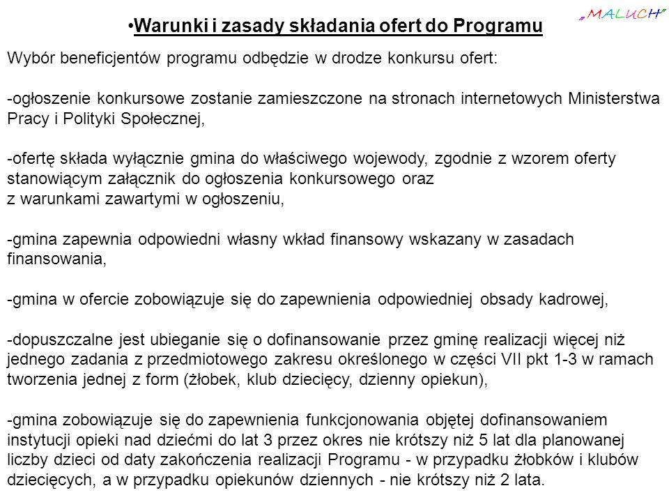 Warunki i zasady składania ofert do Programu Wybór beneficjentów programu odbędzie w drodze konkursu ofert: -ogłoszenie konkursowe zostanie zamieszczo